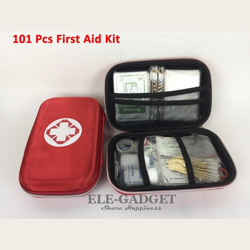 Novos 101 itens/conjunto ao ar livre portátil à prova dwaterproof água kit de primeiros socorros eva vermelho saco para a família ou viagem de emergência tratamento médico