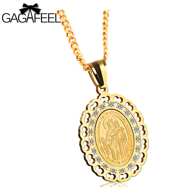 Gagafeel christian pendant necklace men women jewelry virgin mary gagafeel christian pendant necklace men women jewelry virgin mary of christ pendants stainless steel clear aloadofball Image collections
