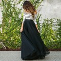 2016 Striped Maxi Vestido de 3/4 de La Vendimia de Manga Larga Off-hombro Elegante Vestido de Noche Largo vestido de Fiesta Vestido de Tutú conjuntos Vestidos S-XL