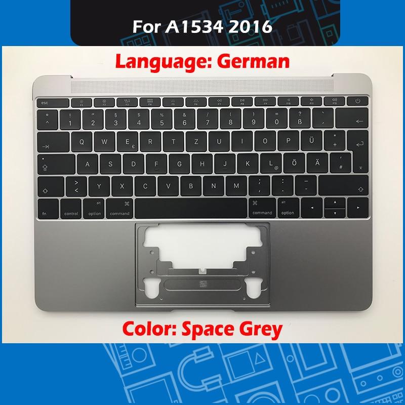 Space Grey A1534 Top Case avec clavier allemand et rétro-éclairage pour Macbook Retina 12