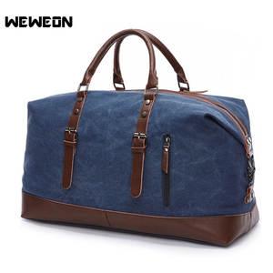 4d4968b9b6 Canvas Leather Men Travel Gym Bag Men Sports Duffel Bags Large Team  Training Sports
