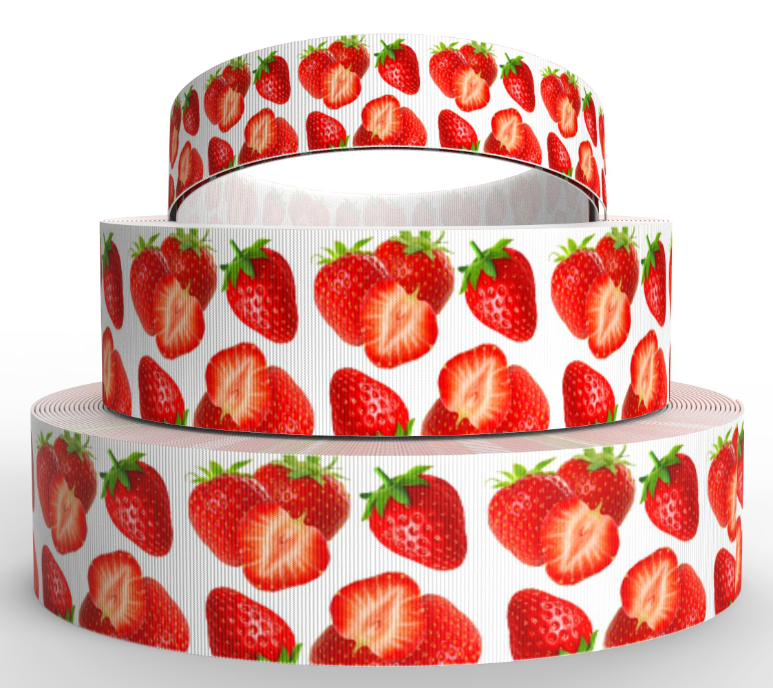 """1/"""" INCH 25mm STAWBERRY FRUIT GROSGRAIN RIBBON RED PINK 5 YDS DIY HAIR BOWS"""