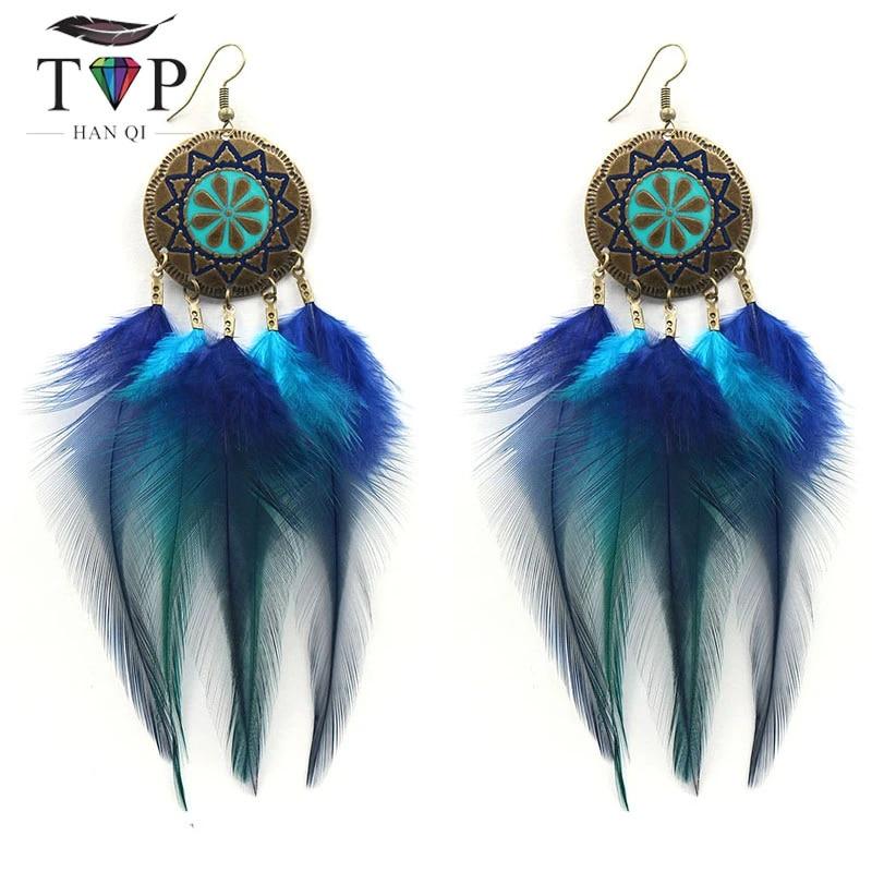 Bohemian Silver Drop Tiny Handmade Feather Earrings