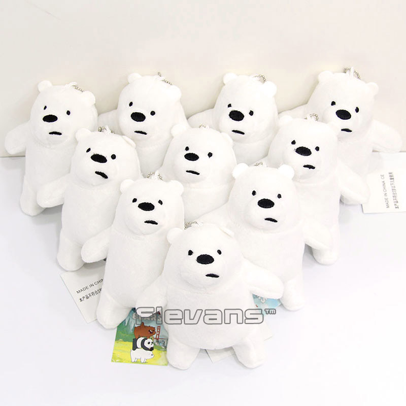 We Bare Bears Ice Bear Grizzly Panda Mini Plush Pendant Toys Soft Stuffed Animal Dolls 10pcs/lot 13cm 3 Styles цена