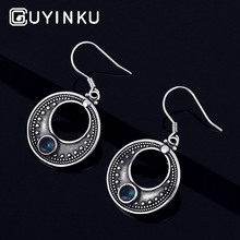 GUYINKU Elegant Created Mystic Topaz Ethnic Drop Earrings 925 Sterling Silver For Women Party Holiday Gift Fine Jewelry