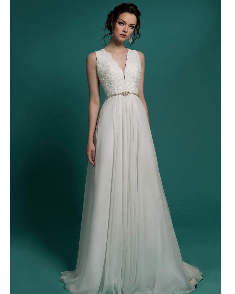 high quality V Neck Chiffon Long simple wedding dress 2017 China ...