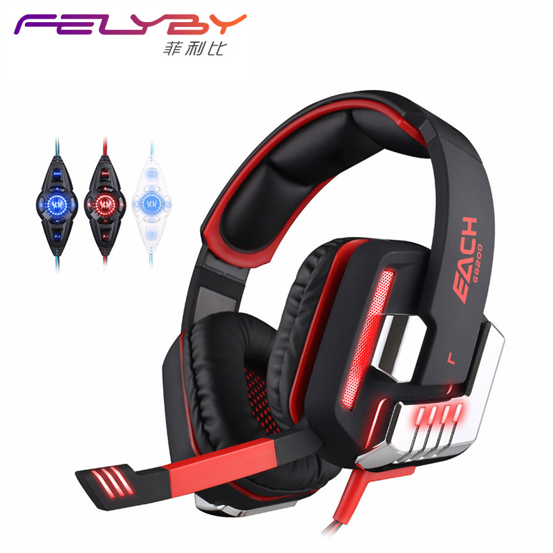 7.1USB light vibration G8200 game headset 7.1 surround sound USB vibration game headset headset microphone LED light PC game each g8200 gaming headphone 7 1 surround usb vibration game headset headband earphone with mic led light for fone pc gamer ps4