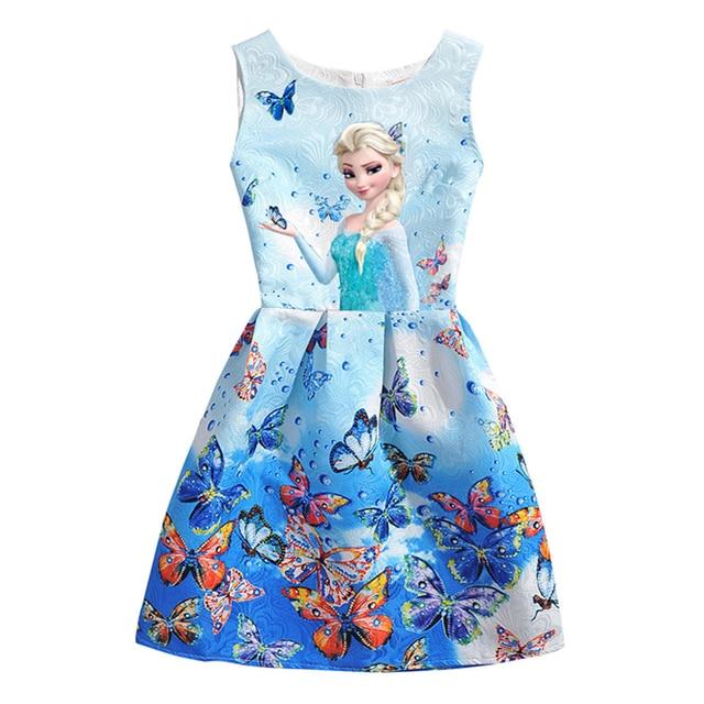 2018 Summer Girls Dresses Elsa Dress Anna Princess Party Dress For Girls Vestidos Teenagers Butterfly Print Baby Girl Clothes 4