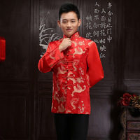 Bräutigam Traditionen Rot Cheongsam Top Satin Traditionellen Chinesischen Kleidung 2017 Kragen Drachen Orientalischen Herren Kleidung Stickerei Tang