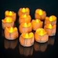 12 pcs Amarelo Plástico Led Velas Sem Chama Cintilação Bateria Velas luz Da Noite Para o Dia Das Bruxas Natal Decoração Do Casamento WNL004