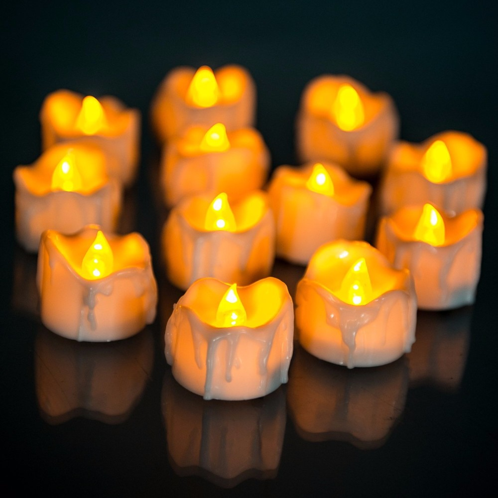 12pcs Yellow Flicker Battery Candles Plastic Led Candles Flameless Night light For Christmas Halloween Wedding Decoration WNL004