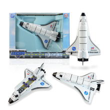 Alloy shuttle Colombia jet plane acousto-optic pull back to the shuttle kid toy collection model Children's day birthday gift