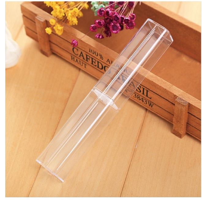 100pcs lot High Quality Transparent Pencil Case clear box For crystal Fountain Roller Ball Pen Ballpoint