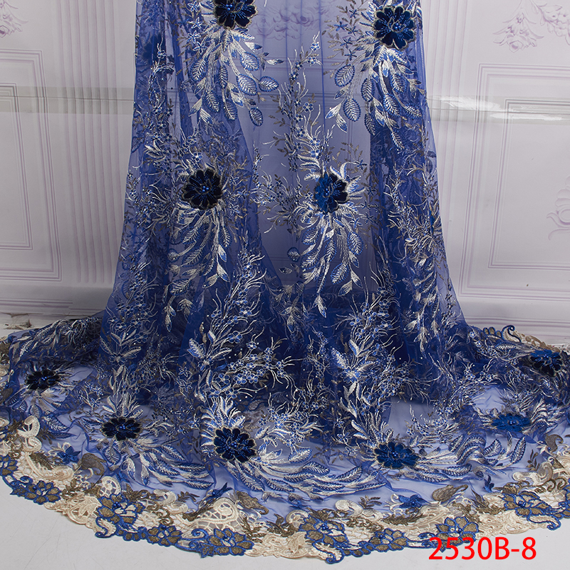Latest High Quality Water Soluble Lace 2019 Hot Sale African Tulle Lace Fabric with Beads for