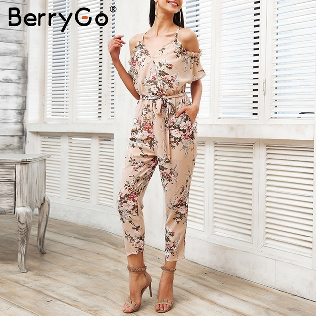 3673b465f173 BerryGo Elegant cold shoulder summer jumpsuit women Sexy backless floral  print boho playsuit 2018 Ruffle sash beach overalls