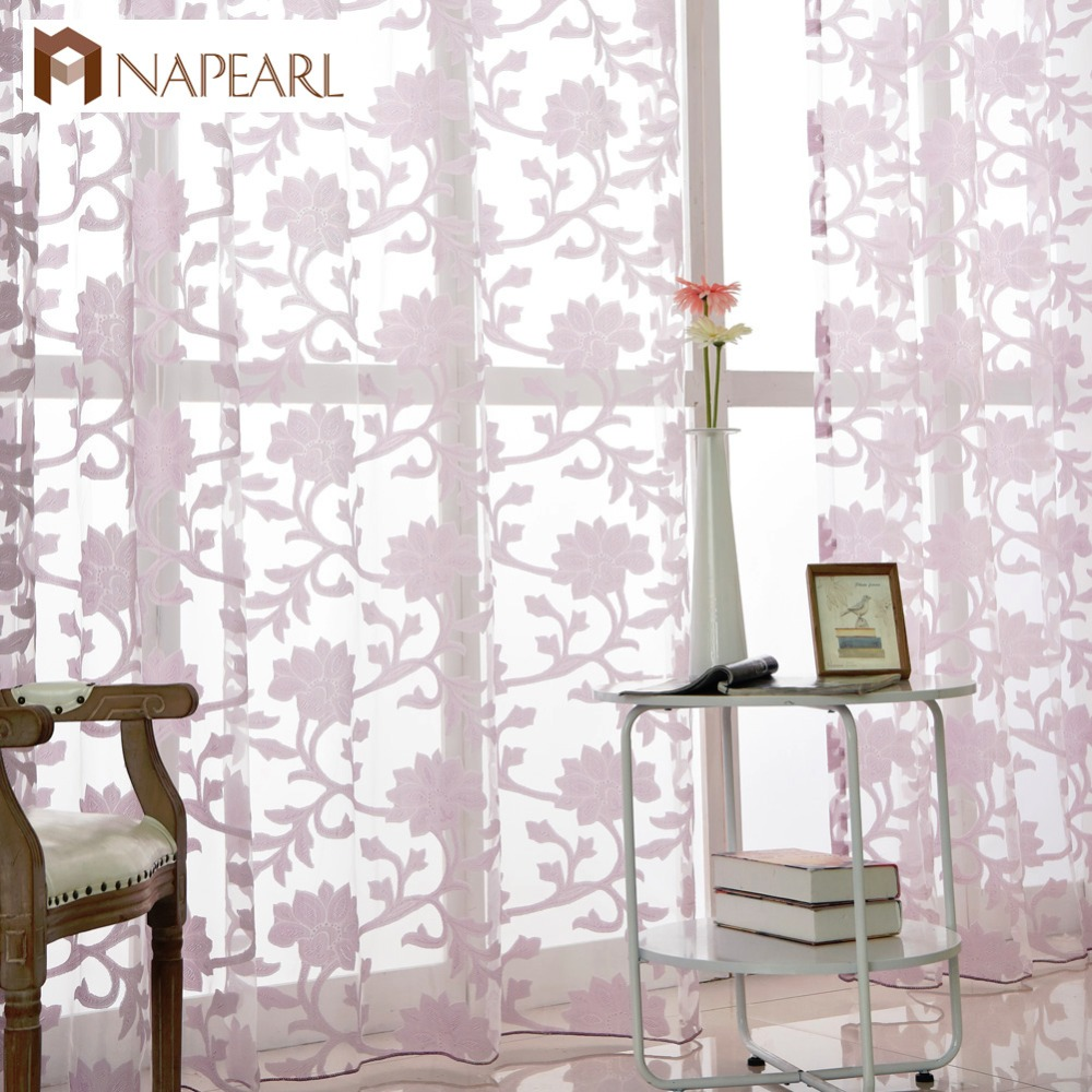 Tulle Curtains Fashion Floral Design Window Treatments