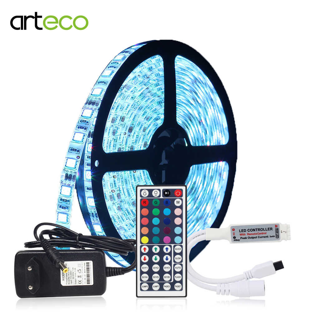 1 компл. светодиодный полосы Водонепроницаемый IP65 5 м 60 Светодиодный s Гибкая Light 5050 RGB + 44Key контроллер + 12 В 3A Питание полный комплект Красочны... ...