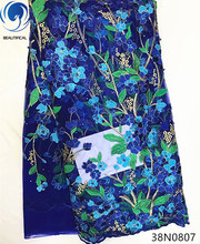 Beautifical Blue lace fabric african nigerian tulle fabrics flower style high quality for dress 5yards 38N08