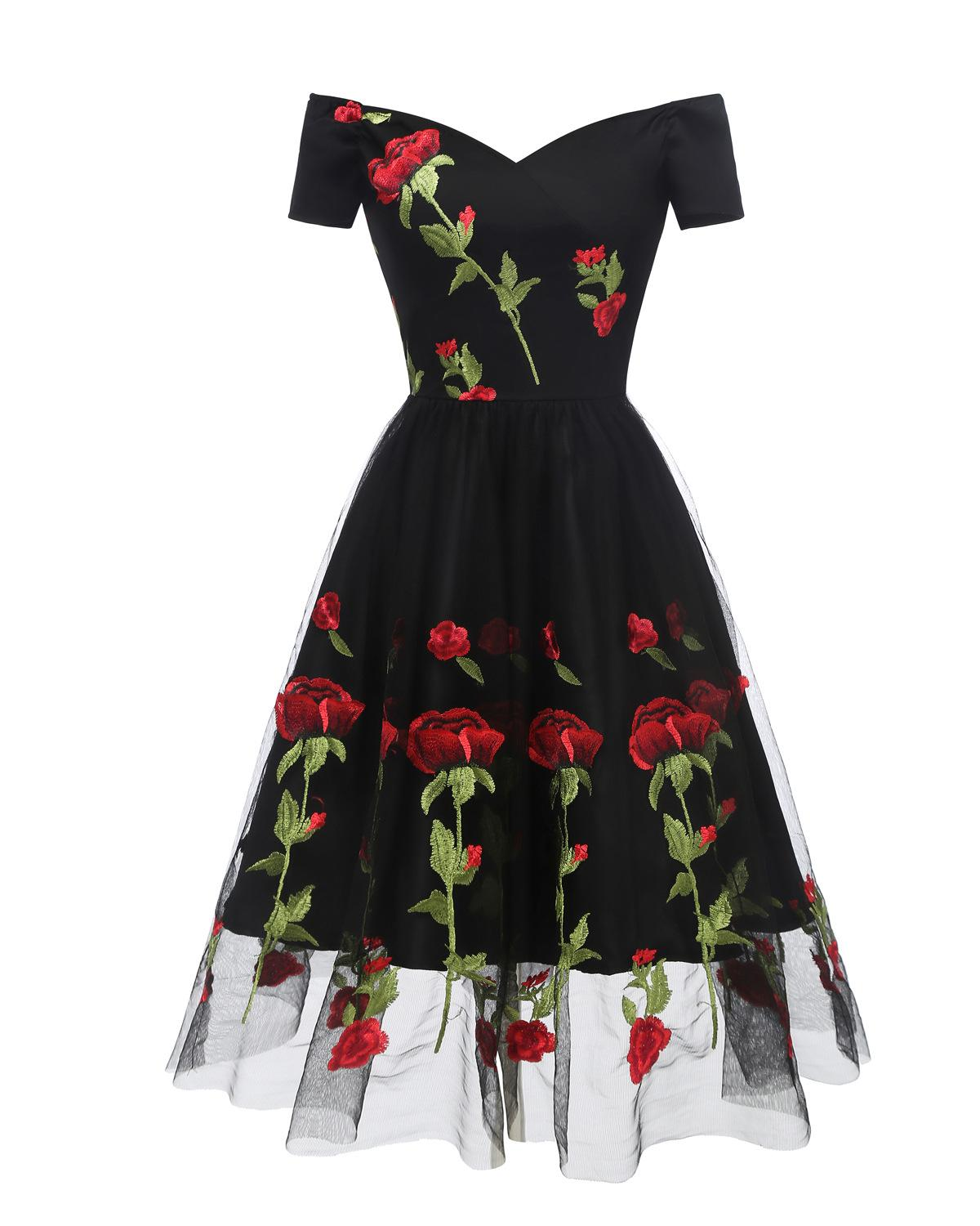 V-neck Off-shoulder Black Ivory Embroidery   Cocktail     Dresses   Robe Flowers elegant party 2019 Short Vestidos Homecoming   Dress