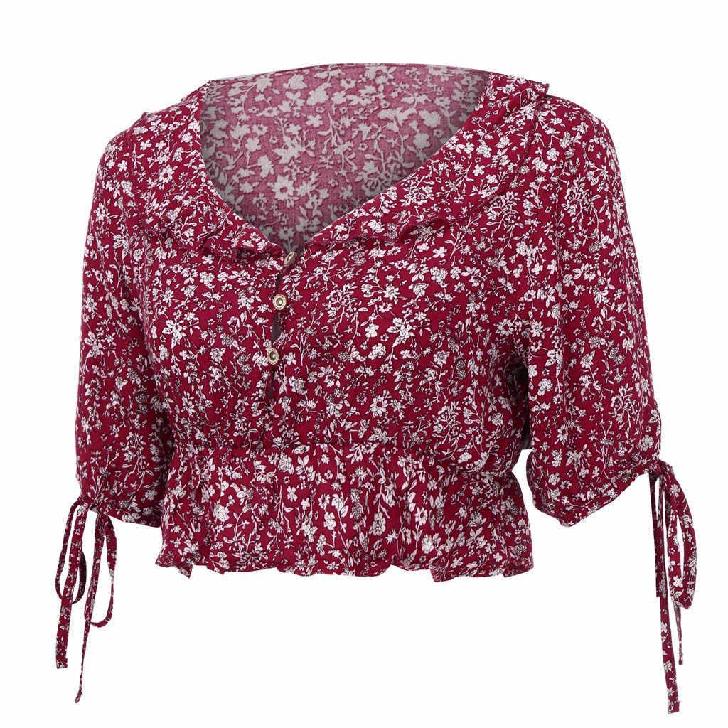 Słodki kwiatowy Print dekolt w kształcie litery v plisowana bluzka krótki krótki rękaw elastyczna wysoka talia krótkie koszule Sexy Ruffles topy elegancki