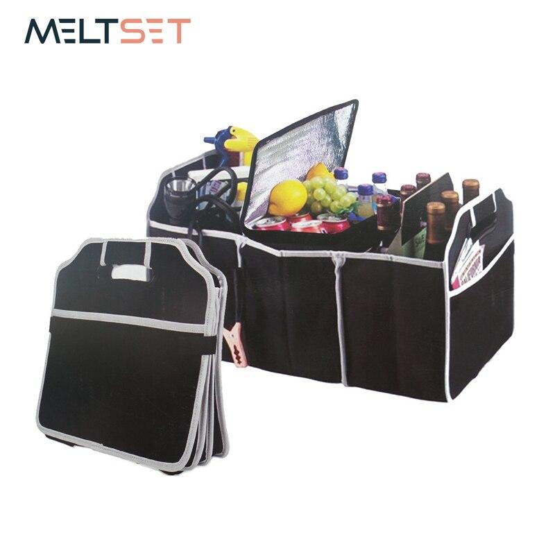 Car Trunk Organizer Foldable Backseat Storage Bag High Capacity Storage Box Car Seat Back Organizer Car Interior Accessories