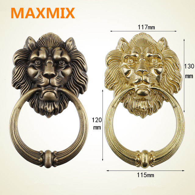 MAXMIX Bronze Lion Head Chinese Antique Door Knocker Beast Head Handle Pure  Copper Process Pull Ring
