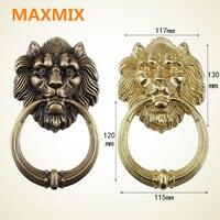 MAXMIX Bronze Lion Head Chinese Antique Door Knocker Beast Head Handle Pure Copper Process Pull Ring