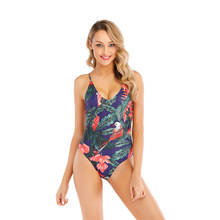 купить Plus Size Swimwear Women One Piece Swimsuit Women Bikini Print Bodysuit Bandage Cut Out Monokini Sexy Bathing Suit Women Badpak онлайн