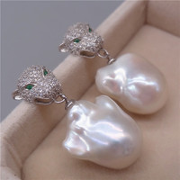 Free Shipping **Genuine Natural White Baroque Reborn Keshi pearl Leopard earring