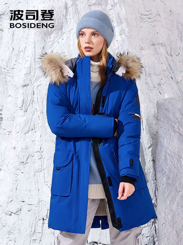 BOSIDENG designer collection goose bumps winter thicken goose   down     coat   women warm goose   down   jacket waterproof fur B80142170S