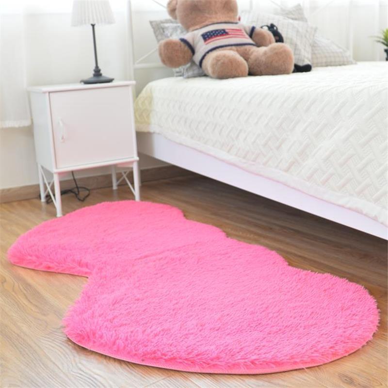 80X160 CM Double coeur chambre tapis et tapis de mariage décoration de la maison petits tapis 4.5 CM fourrure mignon doux tapis de sol