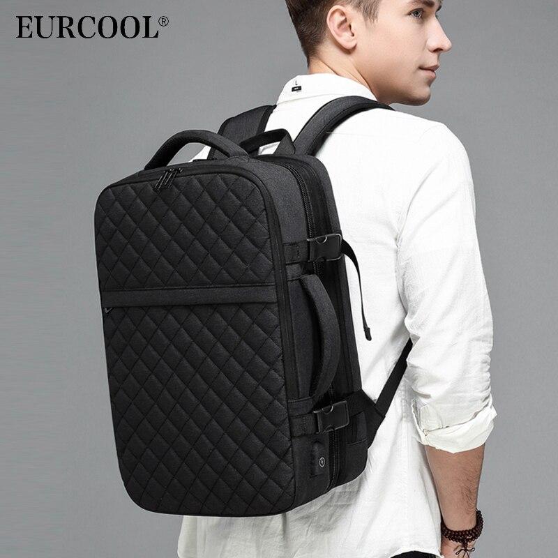 EURCOOL 2019 nouveau voyage sac à dos hommes extensible 12cm multifonctionnel sac Fit 15.6 pouces sacs à dos d'ordinateur portable mâle Mochila n1811-7