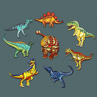 Jurassic Creatures Dinosaur Cloth Collection Clothes Animal Embroidery Stickers DIY Ironing Accessories lron on Appliqued Badges
