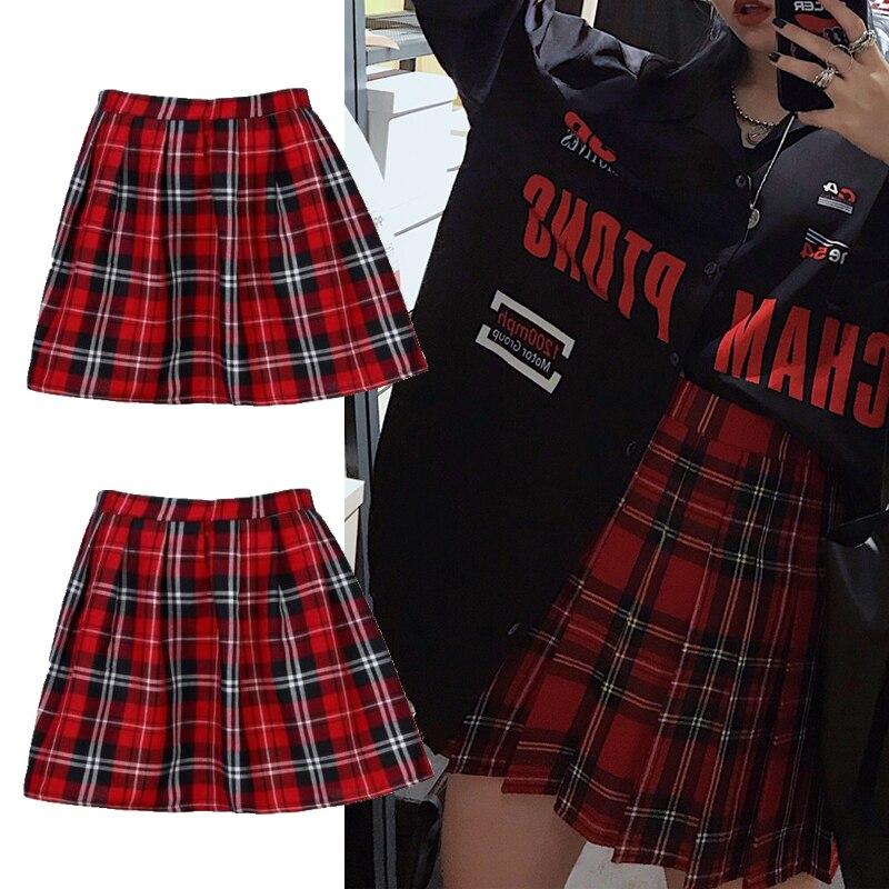 Высококачественная школьная форма, модная клетчатая плиссированная короткая юбка, хлопковая юбка для женщин, повседневная японская опрятная мини-юбка