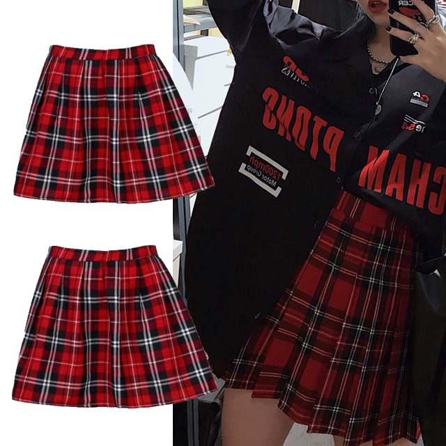 High Quality School Uniform Skirt Fashion Plaid Short Skirt Pleated Cotton Skirt Women Casual Japanese Preppy Mini Skirt 10