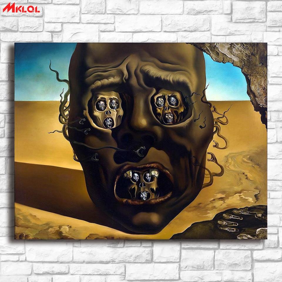 Salvador Dali Le Visage De La Guerre Peinture Sur Toile Pour Salon Decoration De La Maison Peinture A L Huile Sur Toile Peinture Murale Aliexpress