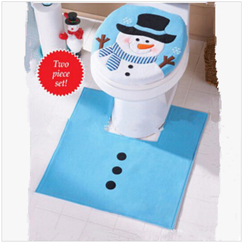 New Arrive 1set Blue Fancy Snowman Toilet Seat Cover And Rug Bathroom Set Christmas Decoration Ic881652