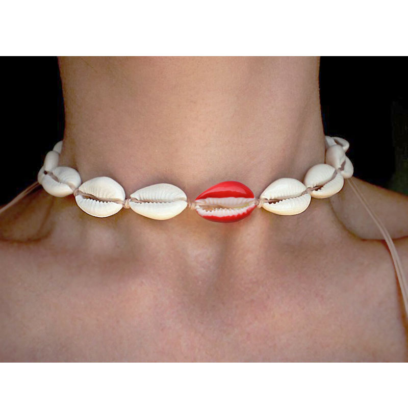 European and American Jewelry Dripping Oil Color PUKA Shell Necklace Bohemian Wind Hand woven Shell Bracelet Necklace Women in Chain Necklaces from Jewelry Accessories