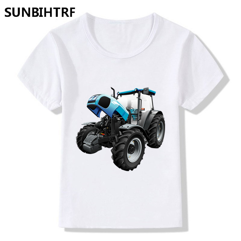 Big Boys/Girls's Funny Cool T-shirts Baby Kids 3D Tractor Print Tops Tees Children Summer Short Sleeve Casual Baby Clothes