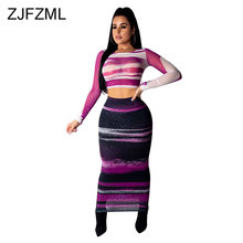 a328c66a4 Sheer Mesh Splicing 2 Piece Outfits For Women Striped Print Full Sleeve  Crop Top And Maxi Bodycon Skirt Set Two Piece Tracksuit