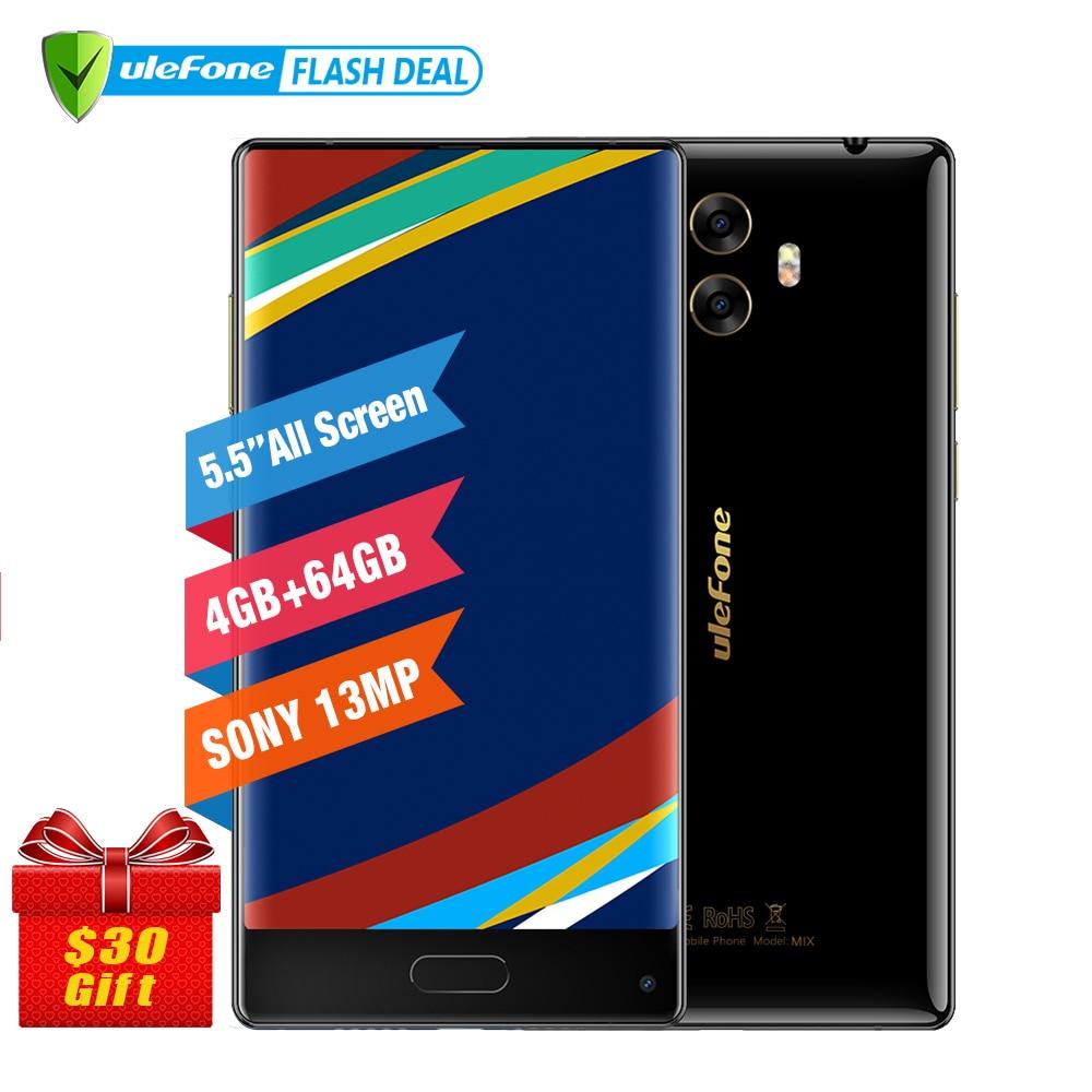 Téléphone portable Ulefone MIX 4G 5.5 pouces HD MTK6750T Octa Core Android 7.0 4GB + 64GB empreinte digitale 13MP téléphone portable double caméra