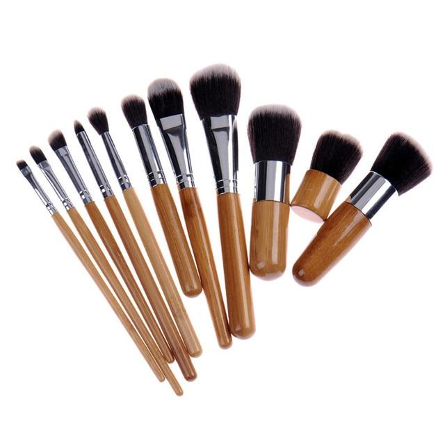 11PCS Bamboo Makeup Brushes Set With Cloth Bag Cosmetics Face Foundation Brush Powder Blusher Eyeshadow Beauty Blending Tool Set 5