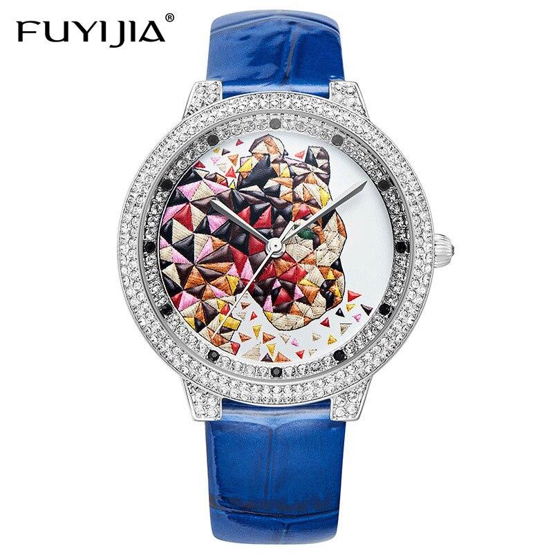 FUYIJIA 2019 новые модные женские туфли часы Дамы Relogio Feminino с кожаным ремешком кварцевые часы 3D стерео Гепард горный хрусталь женские часы