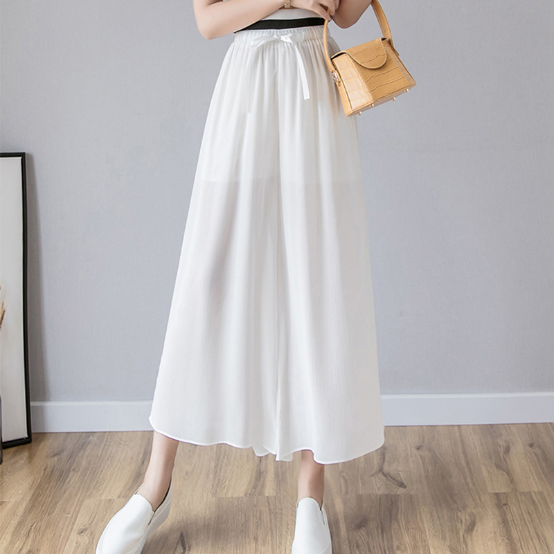 Women Chiffon   Wide     Leg     Pants   2019 Summer Fashion Female Casual Elastic High Waist Boho Beach Loose   Pant   Oversize Trousers
