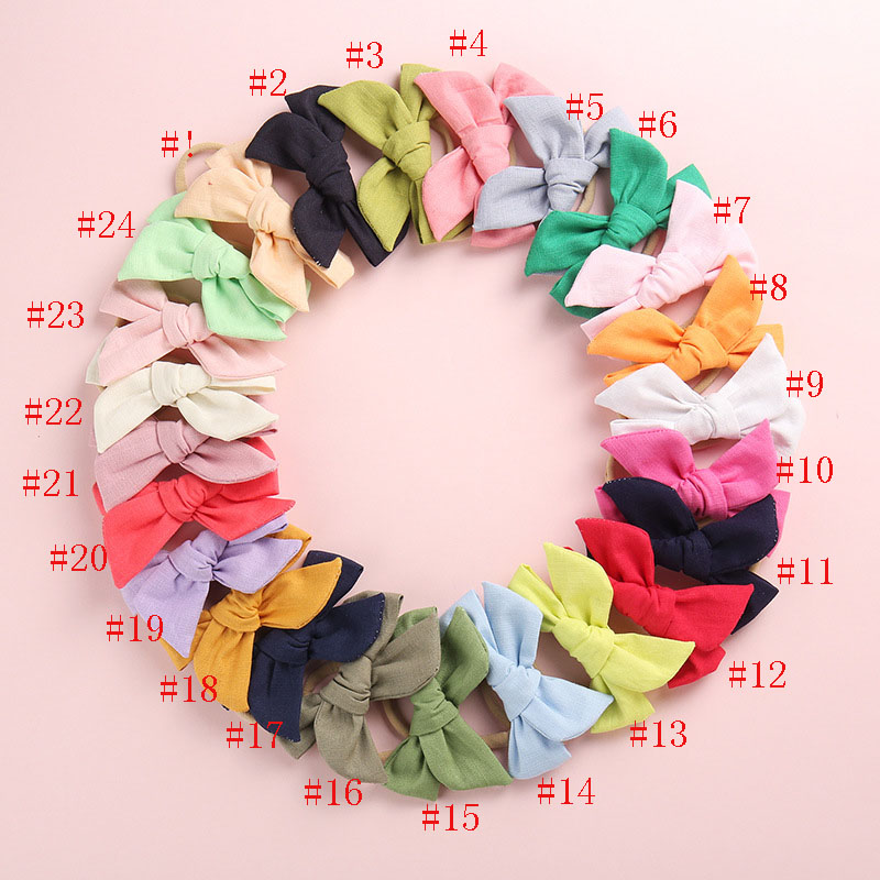 60pc/lot Solid Cotton Fabric Bow With Clips For Girls Windmil Bows Hairpins Children Girls Birthday Party Gifts Hair Accessories