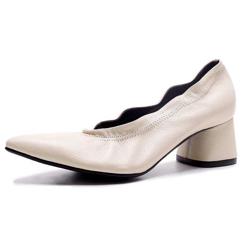 ANMAIRON     Genuine Leather  Pointed Toe  Women Shoes High Heel  Zapatos Mujer Tacon Women Pumps Size 34-40 LY359