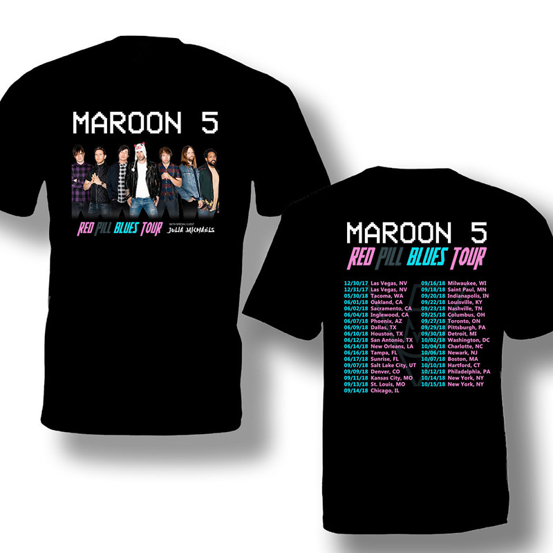 Shirt Designer Short Sleeve Fashion Maroon 5 Tour Crew Neck Mens T Shirts