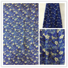 New Summer Print 100%Silk Chiffon Fabric For Women Dress 140cm Wide 6Momme Thin Georgette Fashion cloth DIY Sewing DSF07