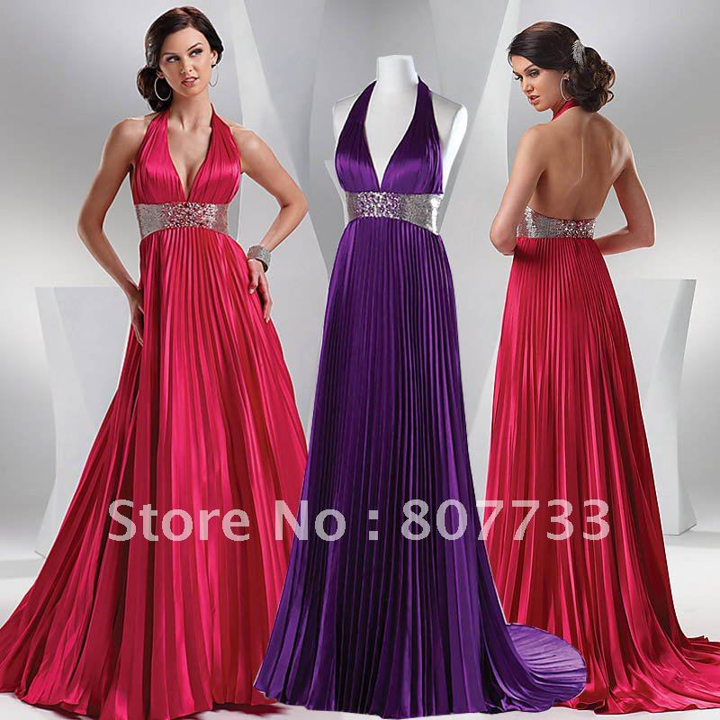 E0165 Real Sample Pleated Elastic Satin Beaded Waist Halter Red Purple Evening Dress In Dresses From Weddings Events On Aliexpress Alibaba