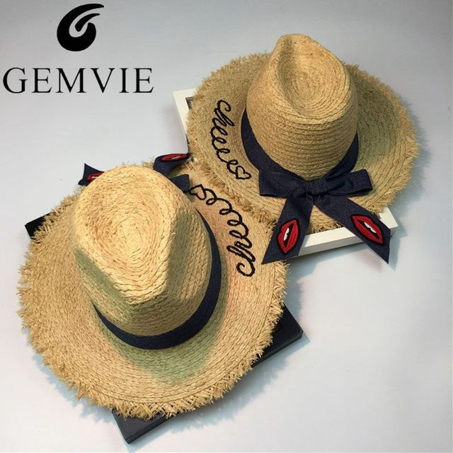 Embroidery Letter Women Wide Brim Natural Raffia Straw Hats Denim Red Lips Bow Large Beach